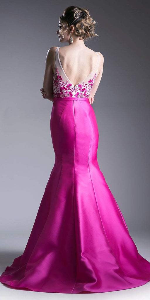 Embroidered Top Mermaid Long Prom Dress Hot Pink