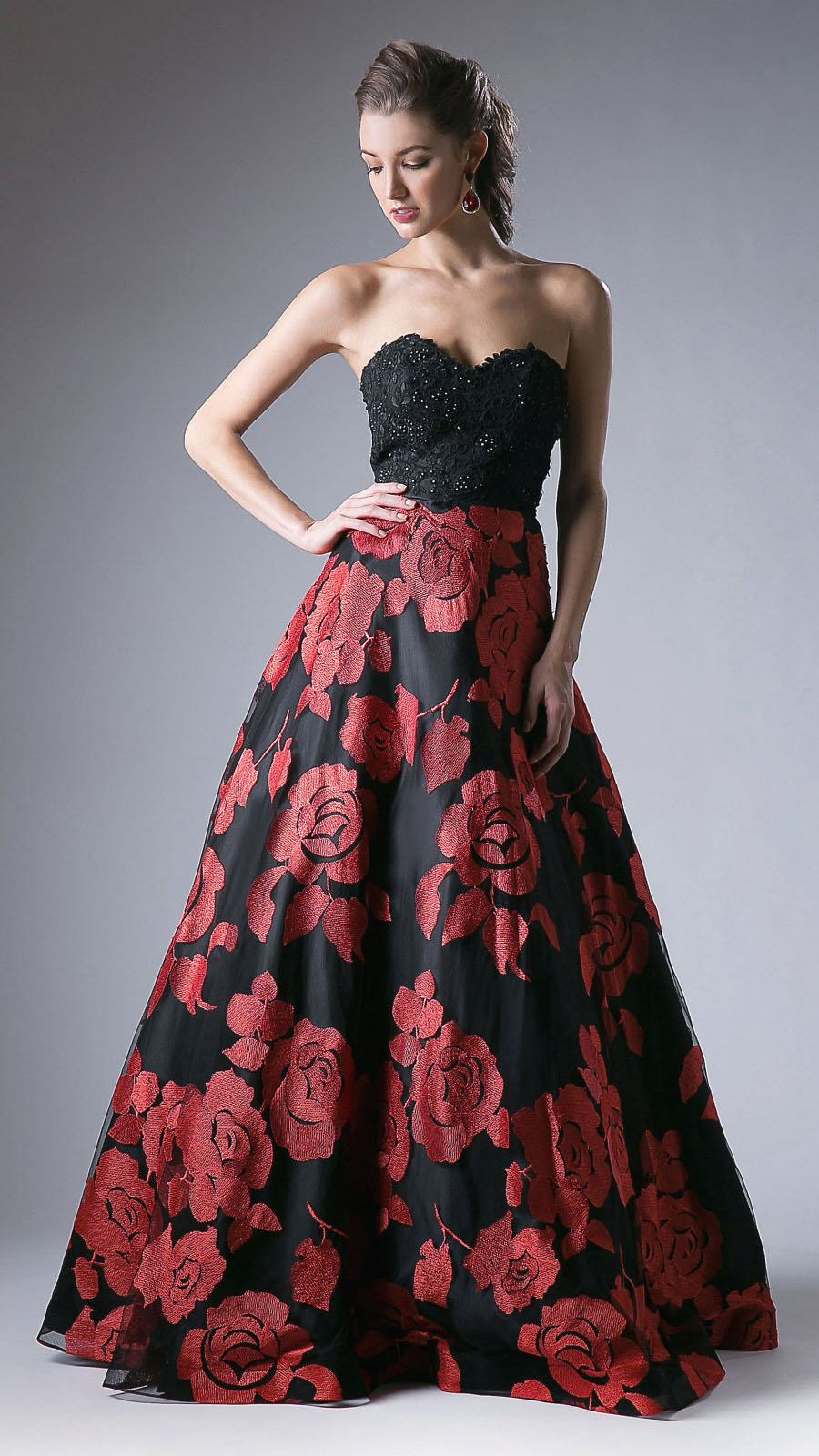 Cinderella Divine KC1788 Black Embroidered Strapless Prom Gown Lace ...