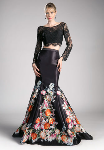 Print Skirt Lace Crop Top Two-Piece Prom Gown Long Sleeve