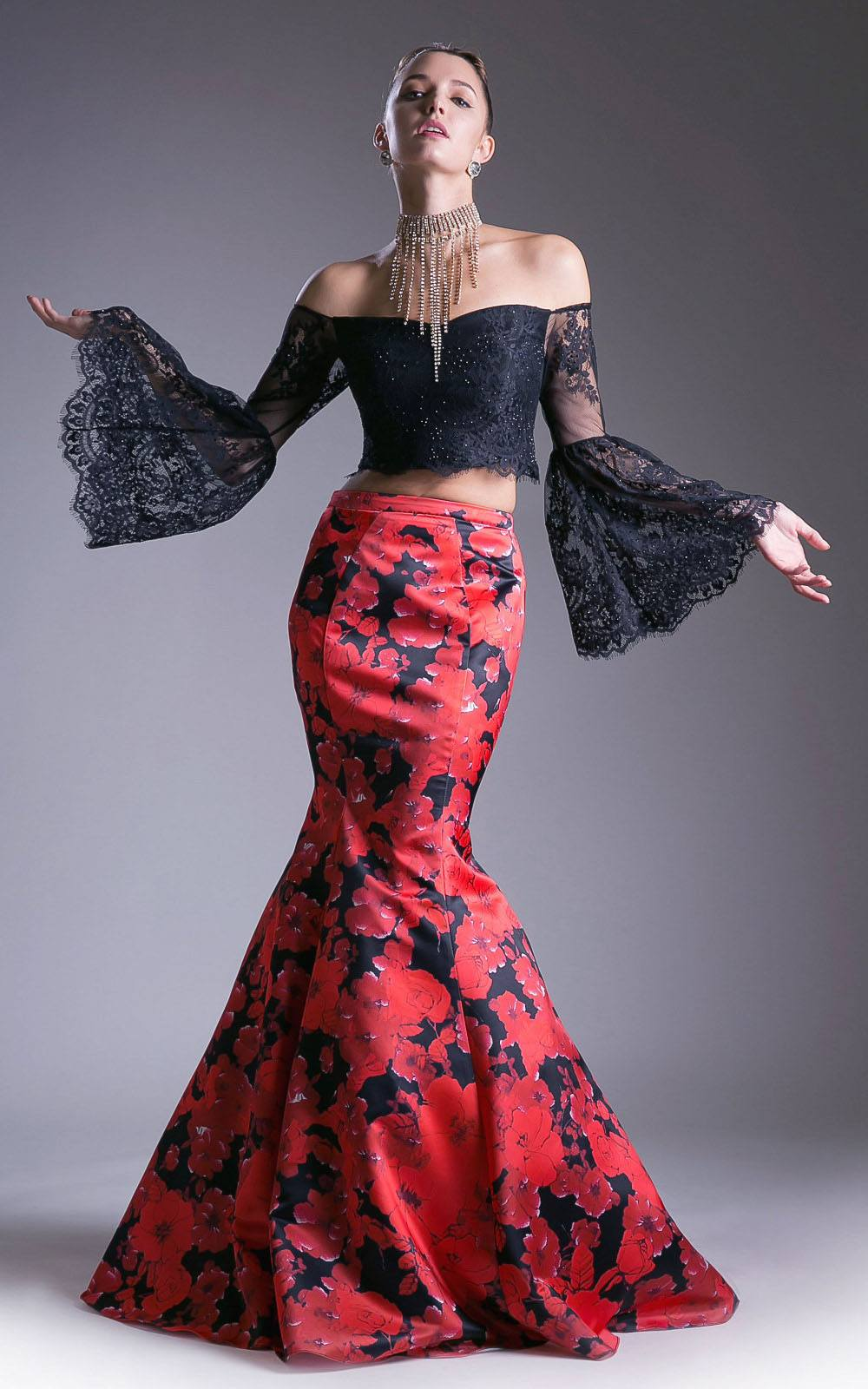b2f0435964e Print Skirt Off-Shoulder Two-Piece Prom Gown Bell Sleeves. Touch to zoom