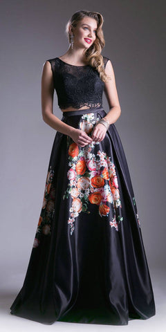 Two-Piece A-line Prom Gown with Floral Print Skirt
