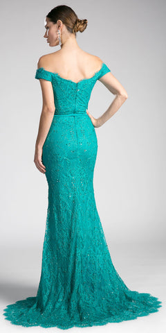 Green Off-the-Shoulder Lace Floor Length Formal Dress