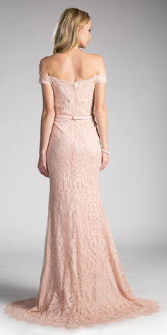 Pale Rose Off-the-Shoulder Lace Floor Length Formal Dress