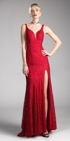 Red V-Neck Long A-line Prom Dress with Slit