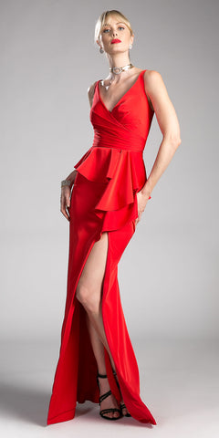 Red V-Neck Long Prom Dress with Ruffles and Slit a46f07b9e