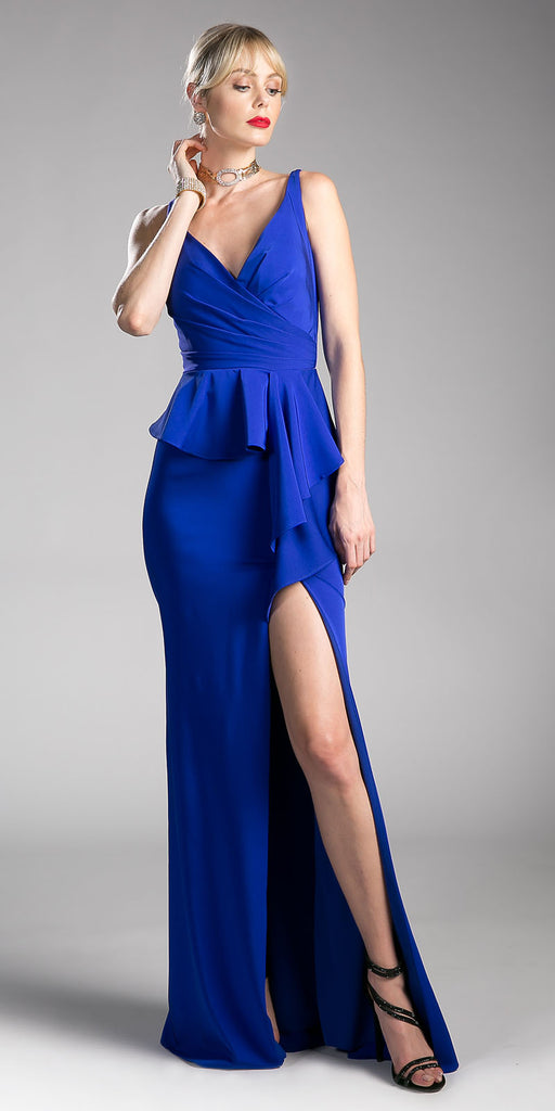Royal Blue V-Neck Long Prom Dress with Ruffles and Slit
