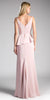 Tea Rose V-Neck Long Prom Dress with Ruffles and Slit