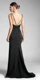 Black A-line Long Formal Dress Spaghetti Strap with Slit