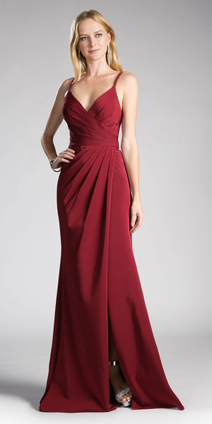Burgundy A-line Long Formal Dress Spaghetti Strap with Slit