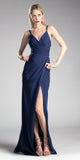 Navy Blue A-line Long Formal Dress Spaghetti Strap with Slit