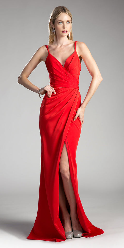 Red A-line Long Formal Dress Spaghetti Strap with Slit