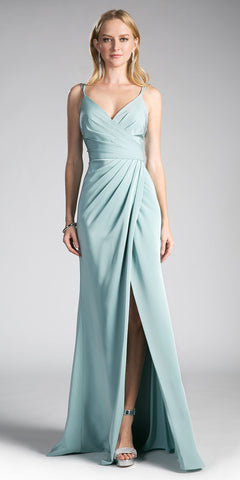 Seafoam Blue A-line Long Formal Dress Spaghetti Strap with Slit