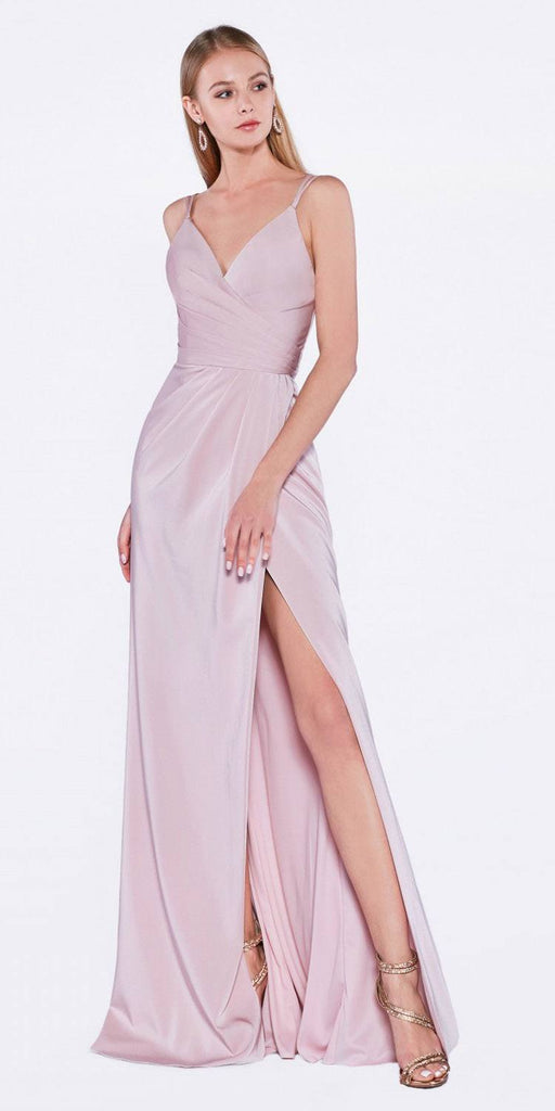 Cinderella Divine KC1850 Tea Rose A-line Long Formal Dress Spaghetti Strap with Slit