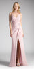 Tea-Rose A-line Long Formal Dress Spaghetti Strap with Slit