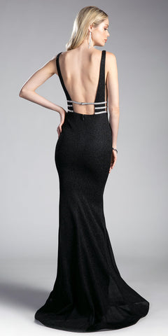 Black Sheer Cut Out Bodice Mermaid Prom Gown Open Back
