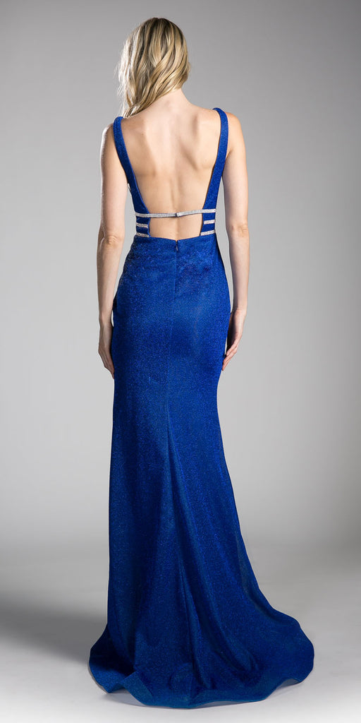 Royal Blue Sheer Cut Out Bodice Mermaid Prom Gown Open Back