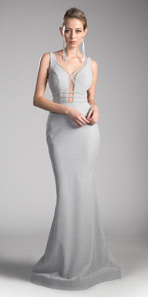 Silver Sheer Cut Out Bodice Mermaid Prom Gown Open Back