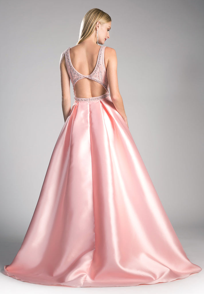 Beaded Bodice Blush Prom Gown Cut Out Back with Pockets
