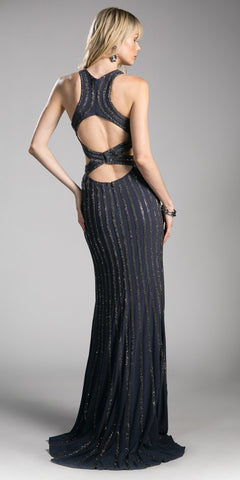 Charcoal Halter Long Formal Dress with Cut-Outs and Slit