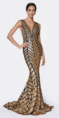 Gold Formal Strapless Long Evening Dress Golden Applique