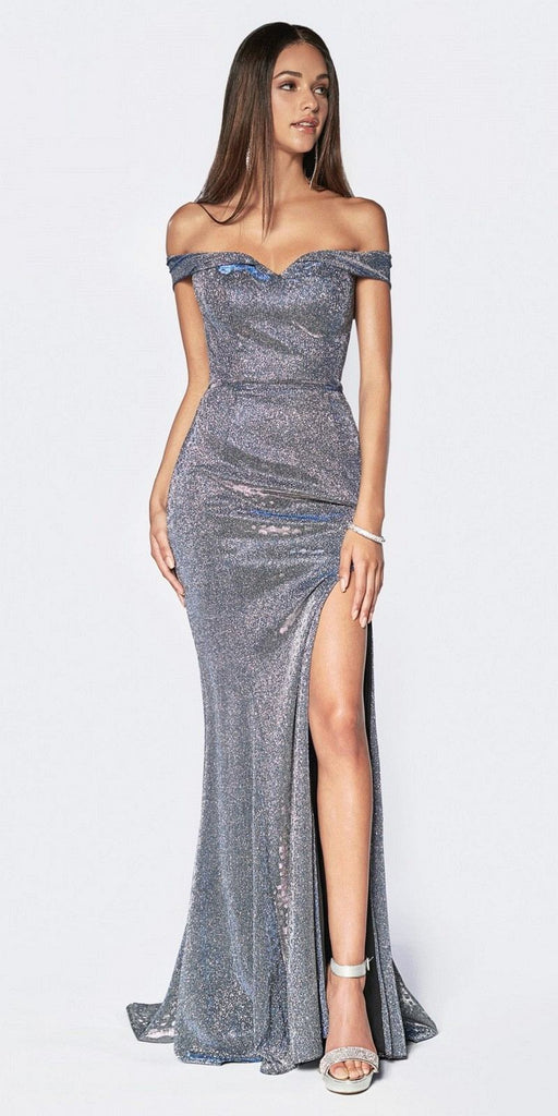 Cinderella Divine KC19057 Floor Length Off The Shoulder Glitter Gown Silver/Royal Leg Slit