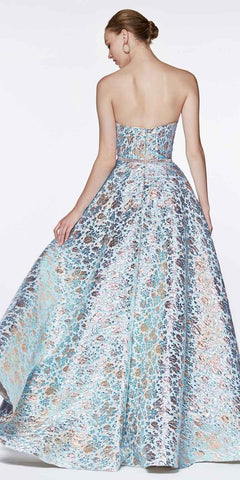 Cinderella Divine KC19064 Floor Length A-Line Strapless Ball Gown Blue Metallic Brocade Details
