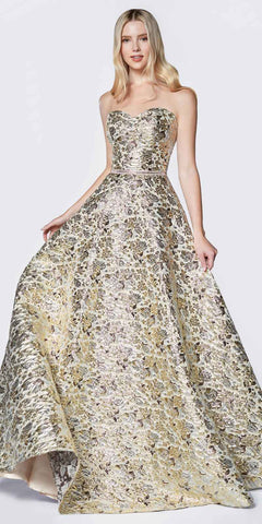 Cinderella Divine KC19064 Floor Length A-Line Strapless Ball Gown Gold Metallic Brocade Details