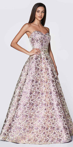 Cinderella Divine KC19064 Floor Length A-Line Strapless Ball Gown Purple Metallic Brocade Details