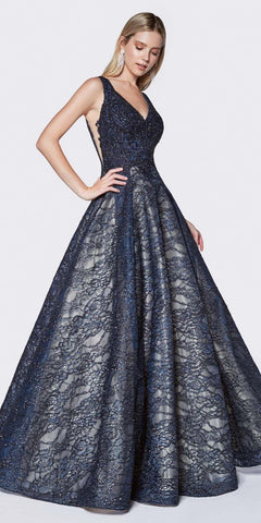 Cinderella Divine KC19065 Lace Ball Gown Navy Blue Glitter Accents Illusion Side Panels V-Neckline