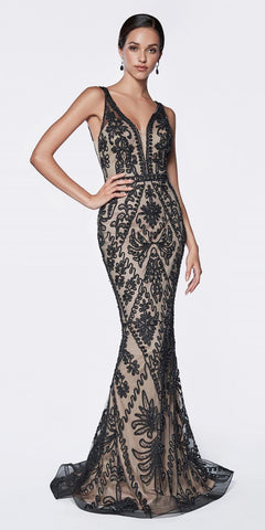 Cinderella Divine KC19067 Fitted Embellished Mermaid Gown Black/Nude Deep V-Neckline Low V Back