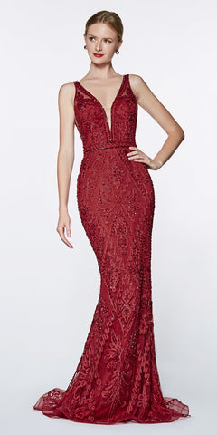 Cinderella Divine KC19067 Fitted Embellished Mermaid Gown Burgundy Deep V-Neckline Low V Back