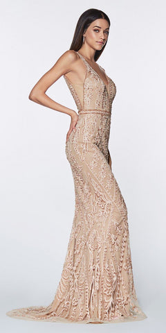 Cinderella Divine KC19067 Fitted Embellished Mermaid Gown Champagne Deep V-Neckline Low V Back