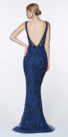 Cinderella Divine KC19067 Fitted Embellished Mermaid Gown Navy Blue Deep V-Neckline Low V Back
