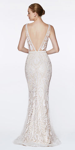 Cinderella Divine KC19067 Fitted Embellished Mermaid Gown Off White/Nude Deep V-Neckline Low V Back