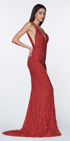 Cinderella Divine KC19067 Fitted Embellished Mermaid Gown Red Deep V-Neckline Low V Back