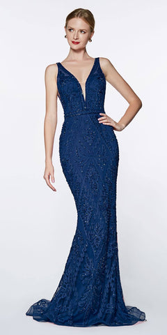 Cinderella Divine KC19067 Fitted Embellished Mermaid Gown Royal Blue Deep V-Neckline Low V Back