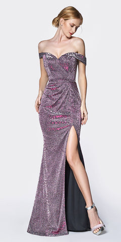 Cinderella Divine KC870 Long Off The Shoulder Metallic Fitted Prom Gown Burgundy Leg Slit