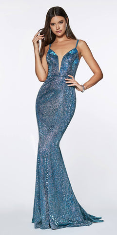 Metallic Blue Appliqued Homecoming Short Dress Sleeveless