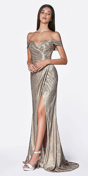 Cinderella Divine KC872 Off The Shoulder Metallic Prom Gown Copper Sweetheart High Leg Slit