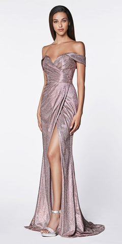 Cinderella Divine KC872 Off The Shoulder Metallic Prom Gown Rose Sweetheart High Leg Slit