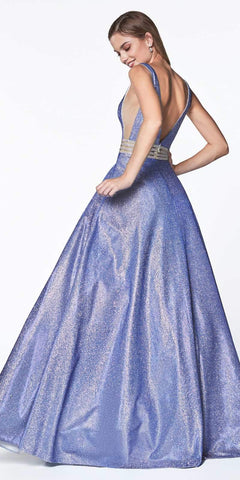 Cinderella Divine KC873 A-Line Deep V-Neckline Prom Ball Gown Blue Glitter Fabric Beaded Belt