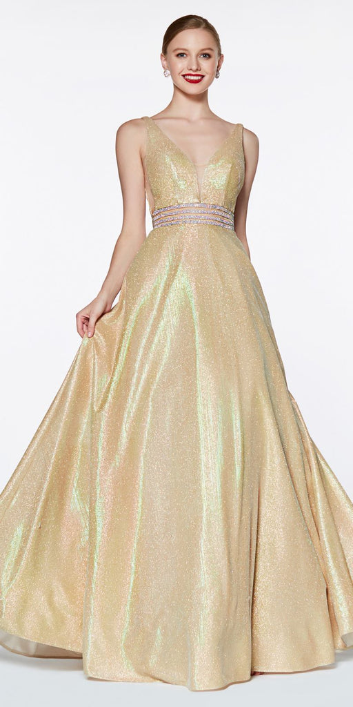 Cinderella Divine KC873 A-Line Deep V-Neckline Prom Ball Gown Champagne Glitter Fabric Beaded Belt
