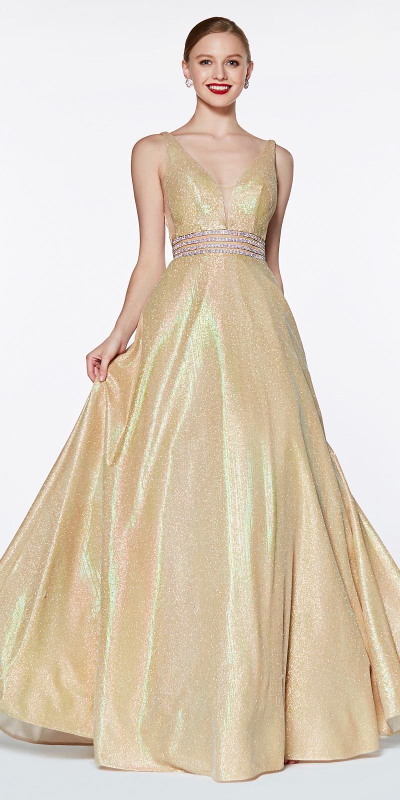 Cinderella Divine KC872 Evening Dress Prom Dress Off the shoulder metallic gown