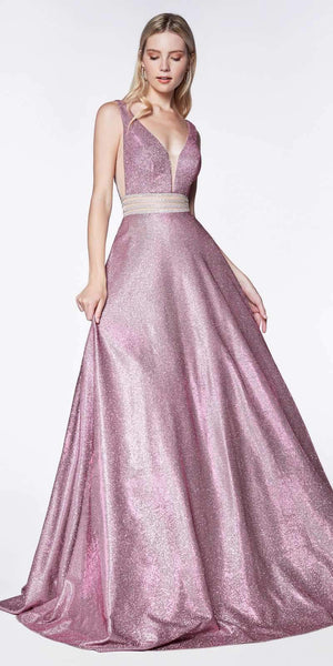 Cinderella Divine KC873 A-Line Deep V-Neckline Prom Ball Gown Pink Glitter Fabric Beaded Belt