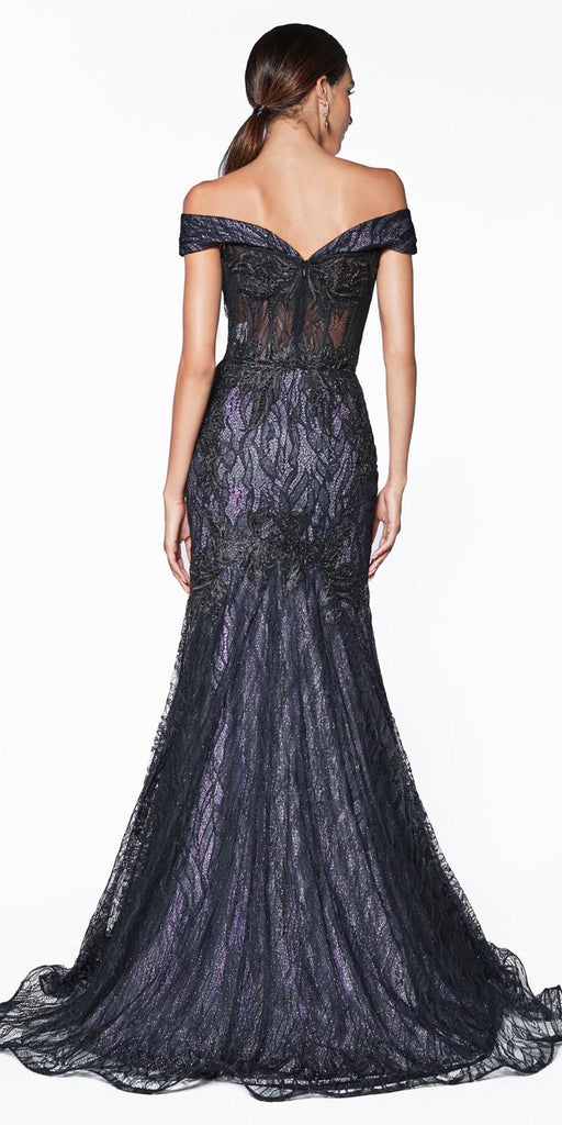 Cinderella Divine KC874 Off The Shoulder Fitted Mermaid Gown Lilac And Black Mixed Lace