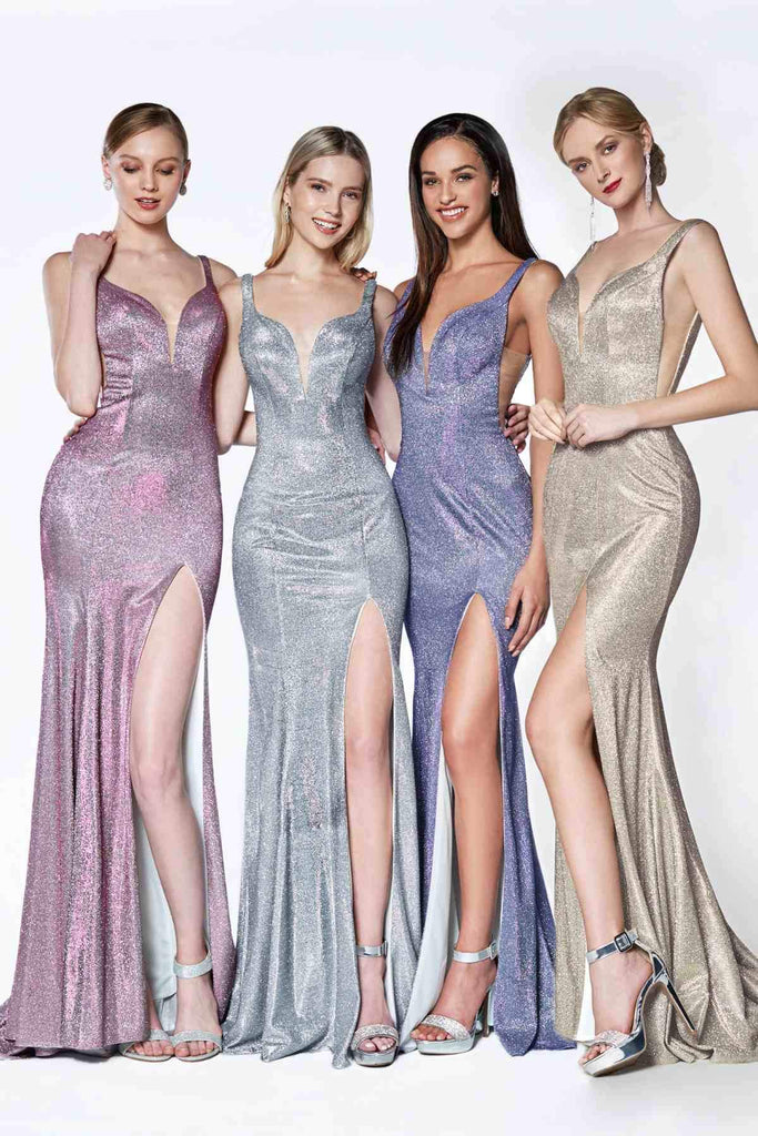 Long Fitted Metallic Glitter Prom Gown Sweetheart Leg Slit Group