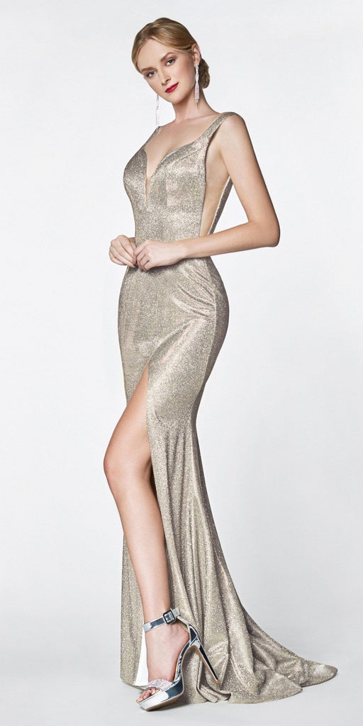 Long Fitted Metallic Glitter Prom Gown Gold Sweetheart Leg Slit