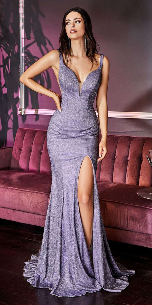 Cinderella Divine KC876 Long Fitted Metallic Glitter Prom Gown Lilac Sweetheart Leg Slit