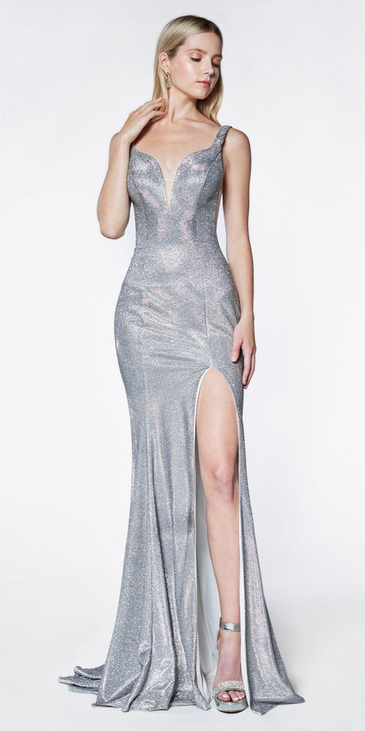 Long Fitted Metallic Glitter Prom Gown Silver Sweetheart Leg Slit