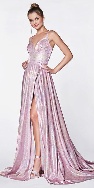 Cinderella Divine Long A-Line Slit Prom Gown Rainbow Metallic Hologram Fabric